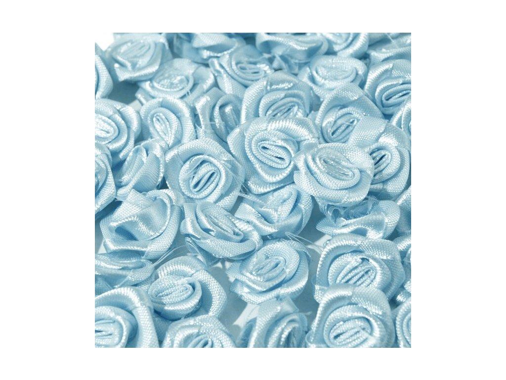 Růžička saténová OE 10-12mm (10 kusů) - sv. modrá