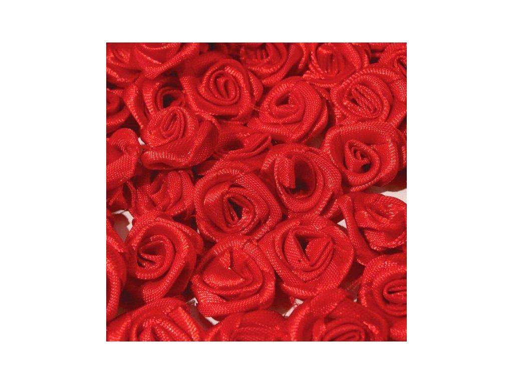 Růžička saténová 10-12mm (10 kusů) - červená