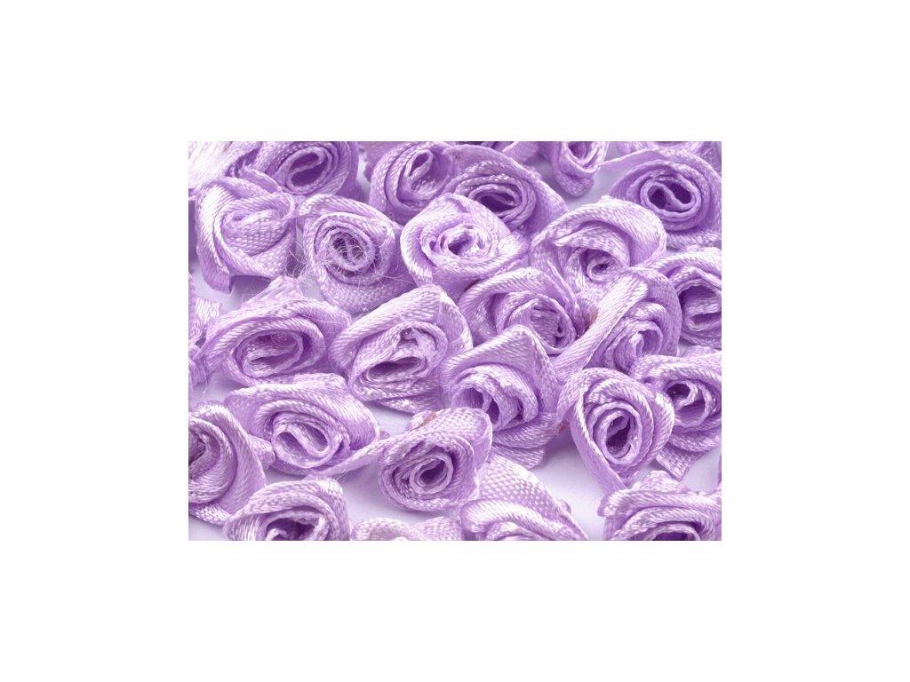Růžička saténová 10-12 mm (10 kusů) - sv. fialová