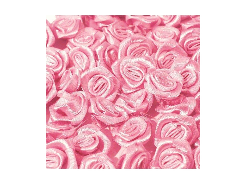 Růžička saténová 10-12 mm (10 kusů) - růžová