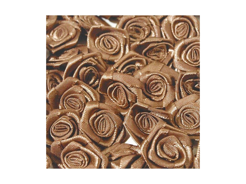 Růžička saténová 12 mm (10 kusů) - sv. hnědá