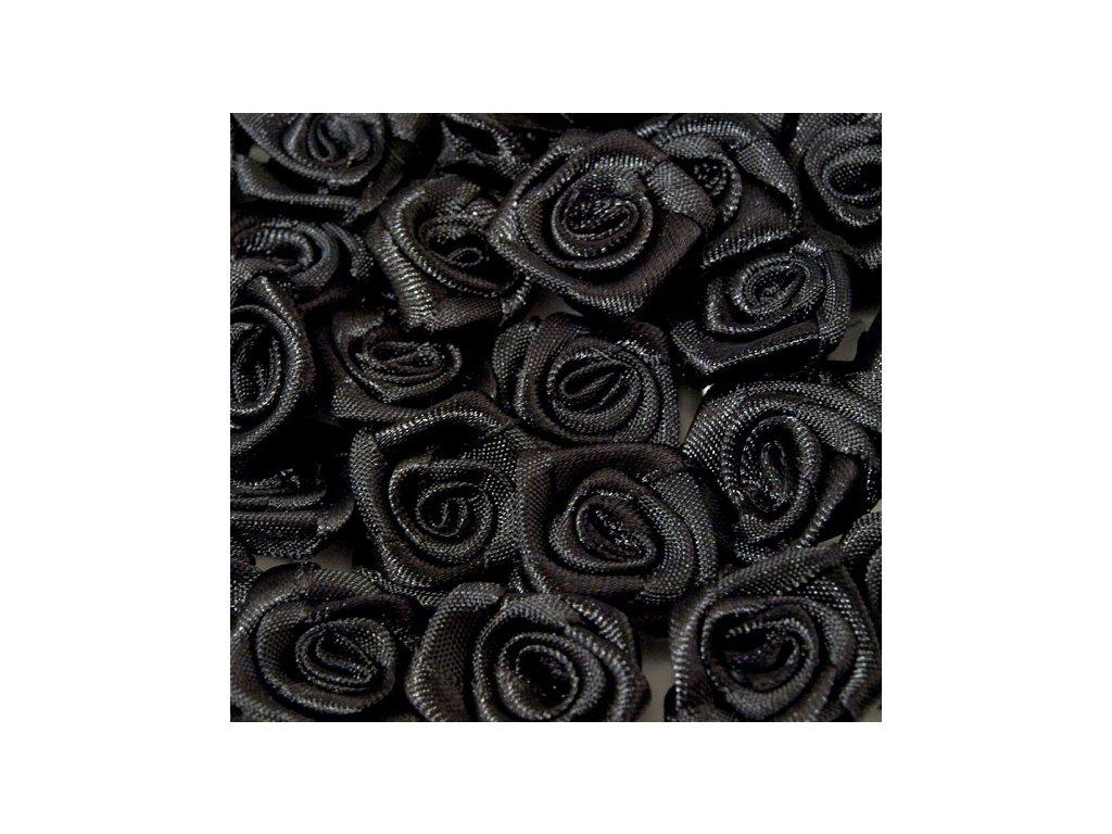 Růžička saténová 10-12mm (10 kusů) - černá