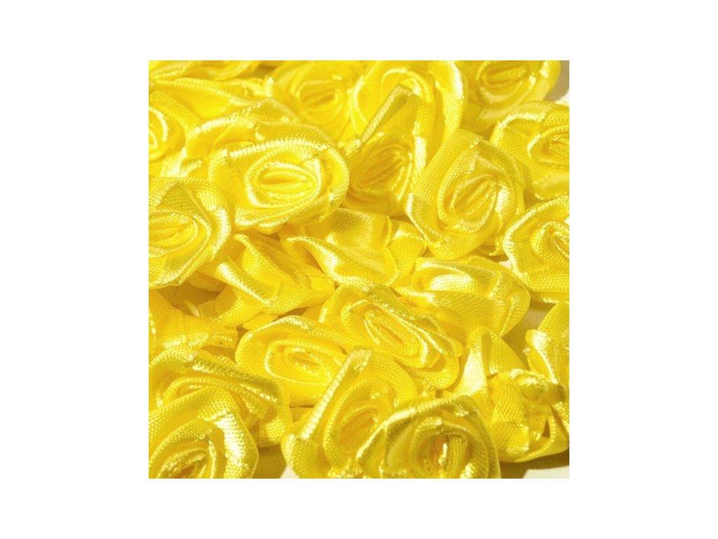 Růžička saténová 12 mm (10 kusů) - žlutá