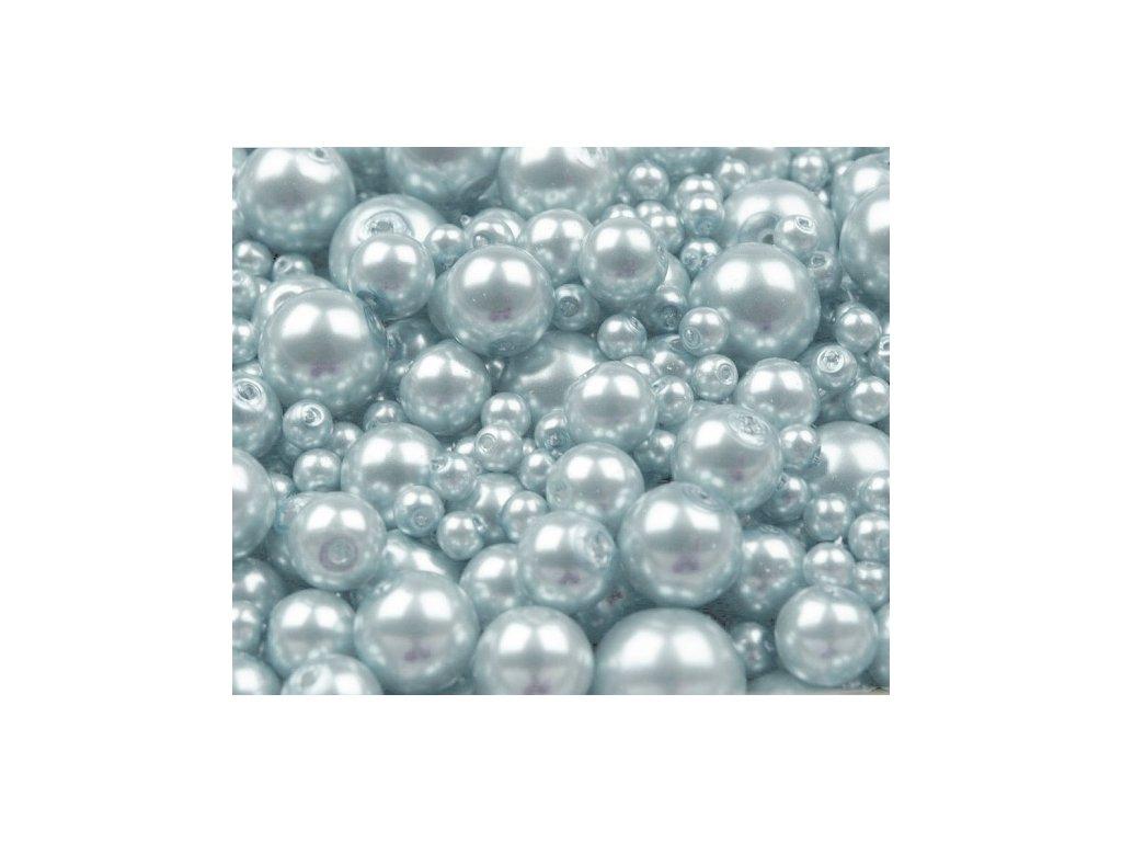 Voskované perly 4-12 mm kulička (30 g) - sv. modré