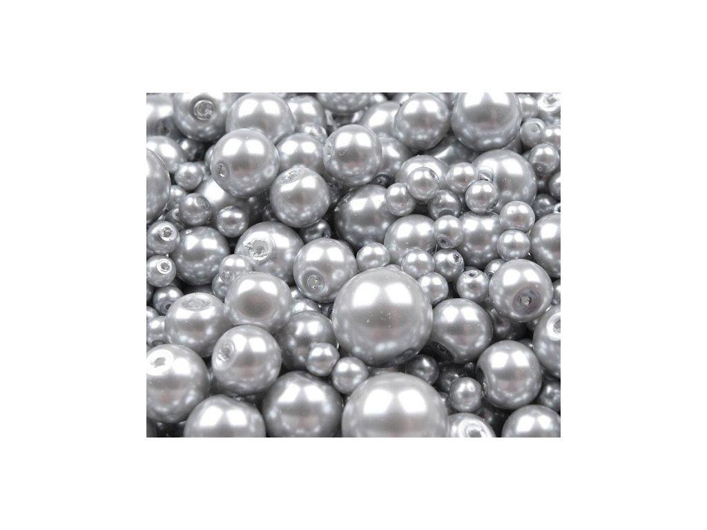 Voskované perly 4-12mm kulička (30g) - stříbrné