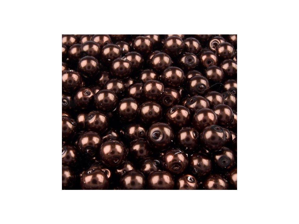 Voskované perly 6mm kulička (50ks) - hnědé