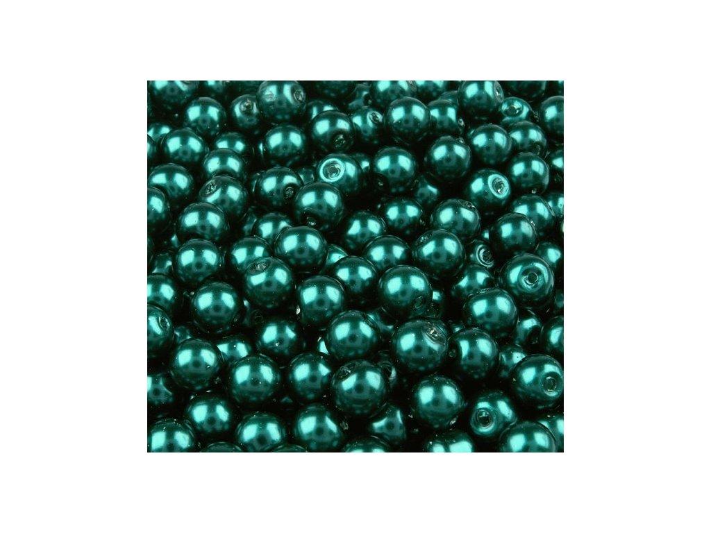 Voskované perly 6mm kulička (50ks) - modrozelené