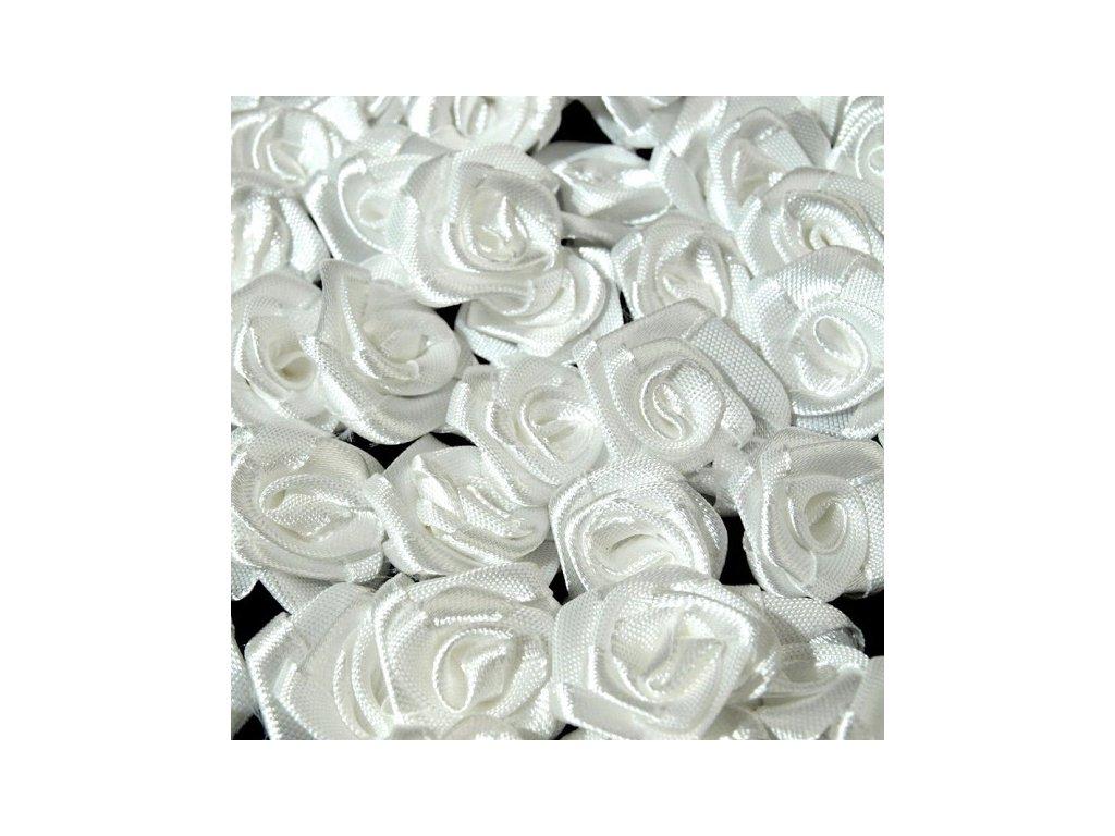 Růžička saténová 12-15 mm (10 kusů) - bílá