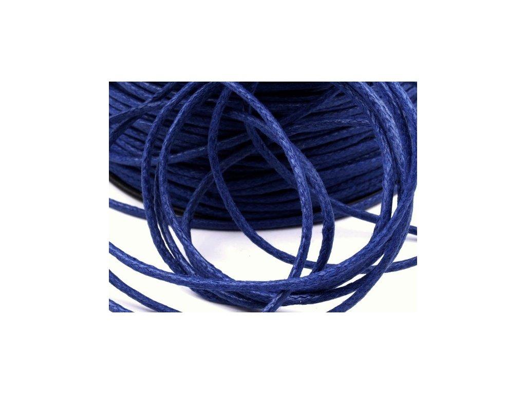 Šňůra bavlněná OE 1,5mm voskovaná - modrá tmavá (5 metrů)