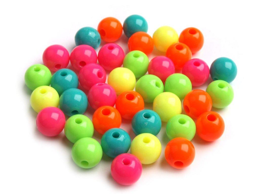 Korálky plastové 8 mm kuličky - mix neonových barev (30kusů)