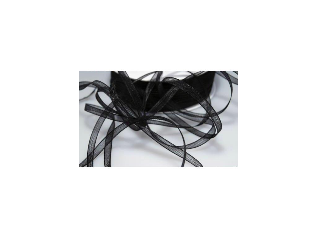 Šifónová stuha šířka 3 mm - černá (5m)