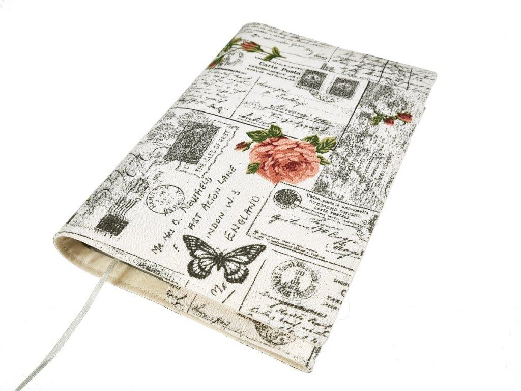 Nastavitelný obal na knihu - Pohlednice s růžemi