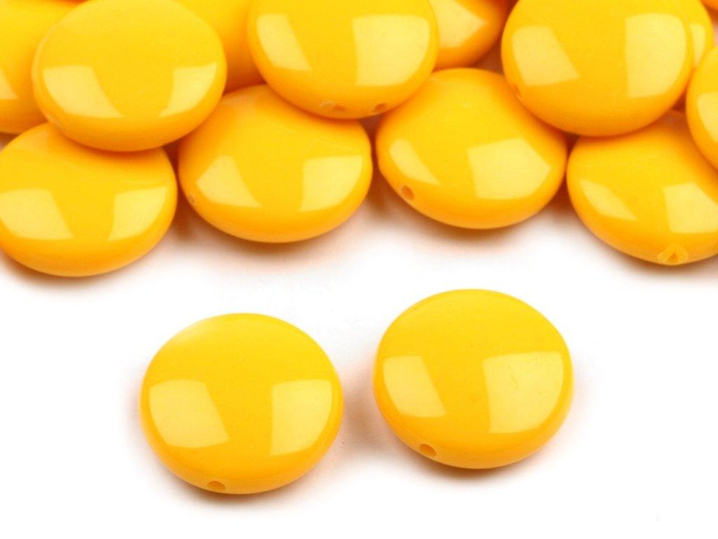 Korálky plastové 16mm Placka (10ks) - žluté