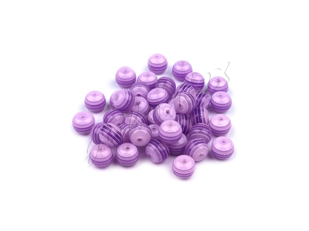 Korálky plastové OE 8mm Kulička s proužkem (10kusů) - fialové