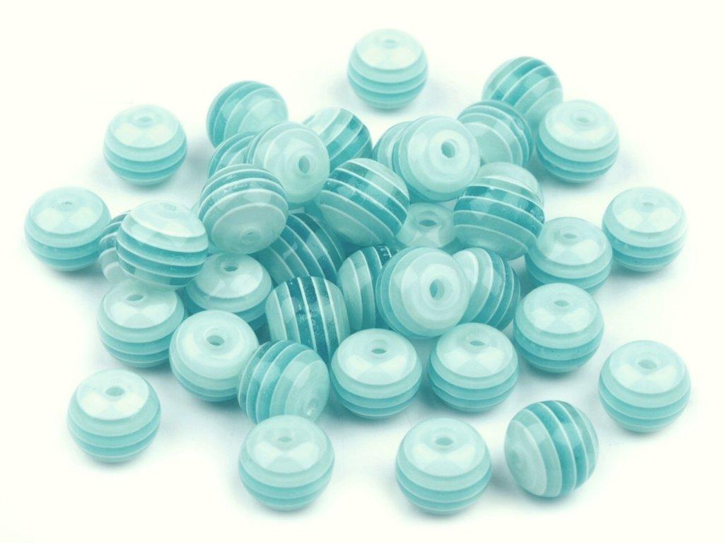Korálky plastové OE 8mm Kulička s proužkem (10kusů) - modré