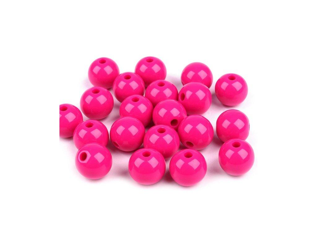 Korálky plastové 12mm Kulička (10ks) - růžové