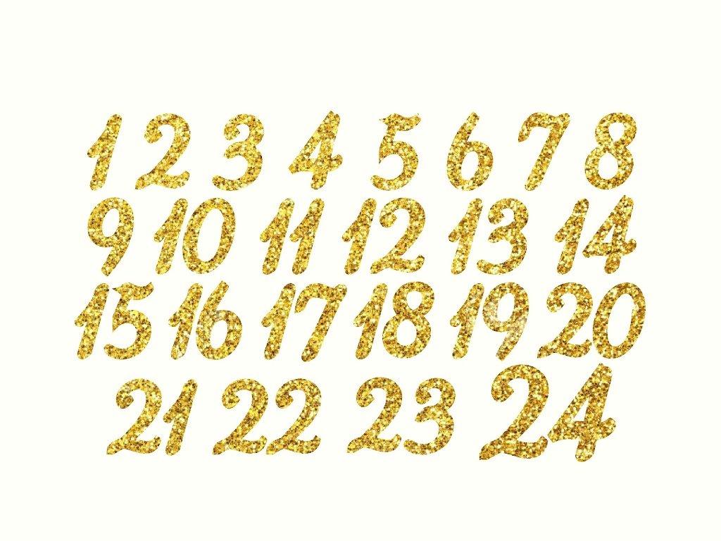 nažehlovací adventní čísla glitrová zlatá