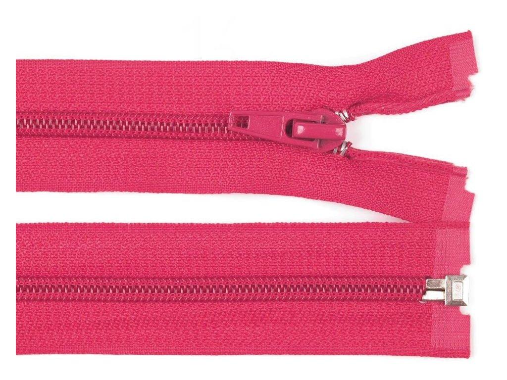 Zip spirálový dělitelný 5 mm / 50 cm - růžový malinový