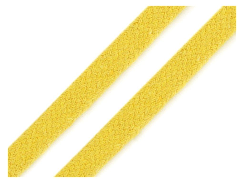 Oděvní šňůra plochá 8 mm - žlutá