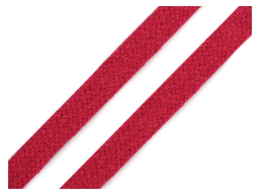 Oděvní šňůra plochá 8 mm - růžová malinová