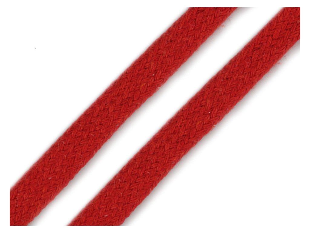 Oděvní šňůra plochá 8 mm - červená