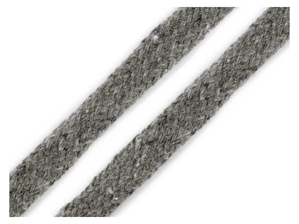 Oděvní šňůra plochá 8 mm - šedá