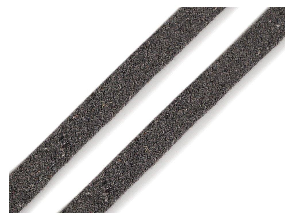 Oděvní šňůra plochá 8 mm - šedá tmavá