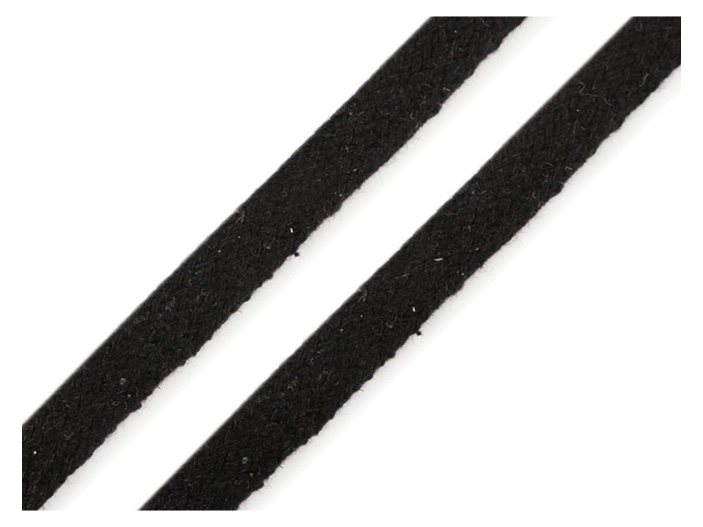 Oděvní šňůra plochá 8 mm - černá