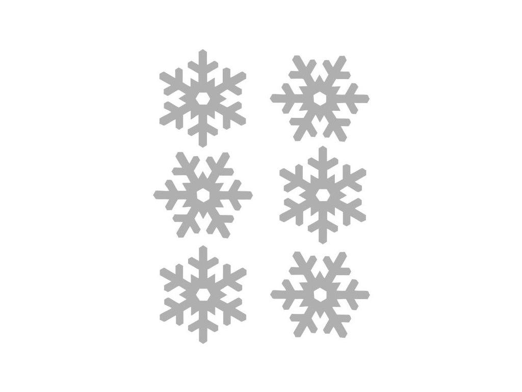 Reflexní nažehlovací potisk - vločky (6 kusů)