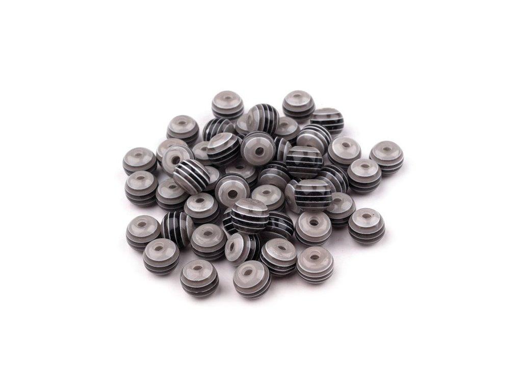Korálky plastové 8 mm Kulička s proužkem (10 kusů) - černé