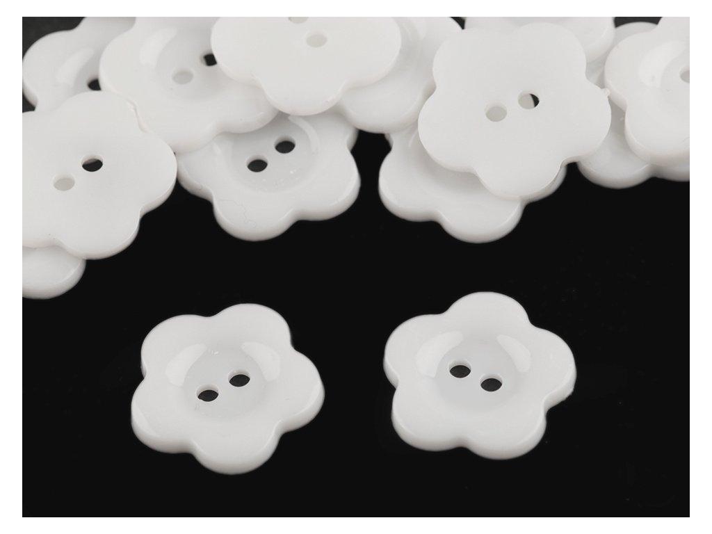 """Knoflík plastový 36"""" Květ - bílý"""