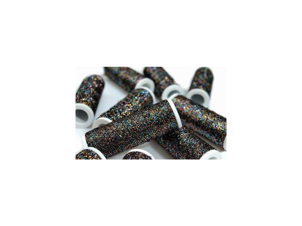 Lurexová vyšívací nit Metalux 60m / 340 - tmavý melír