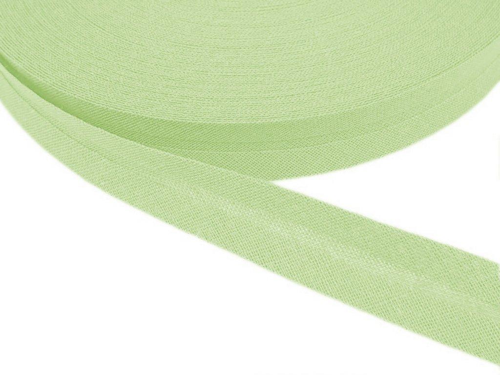 Šikmý proužek bavlněný šíře 14 mm - zelenkavá