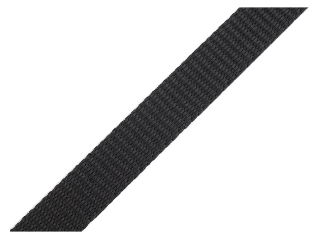 Popruh polypropylénový šíře 15 mm - černý (zbytek)