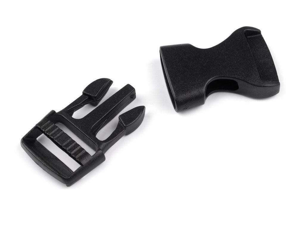 Spona plastová / trojzubec 1,5 cm - černá