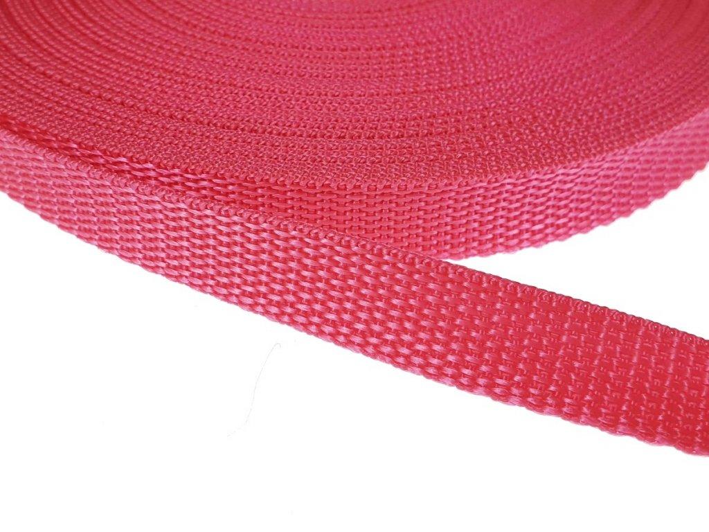 Popruh polypropylénový šíře 15 mm - tm. růžový