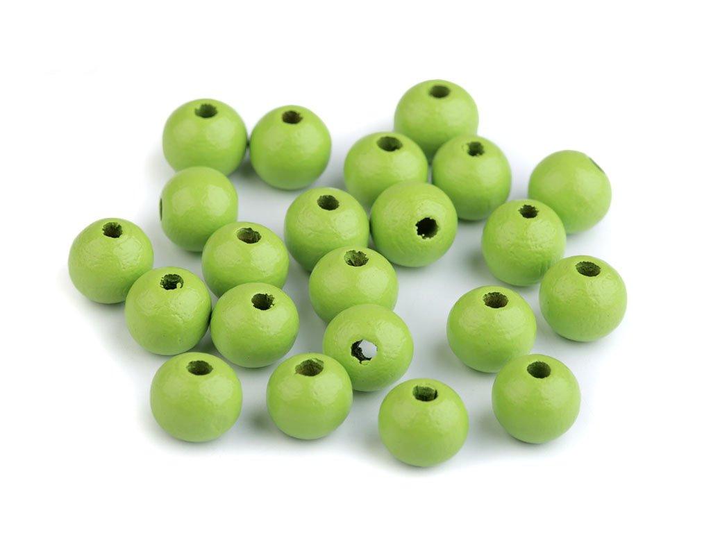 Korálky dřevěné kulička 10 mm (30 kusů) - zelené