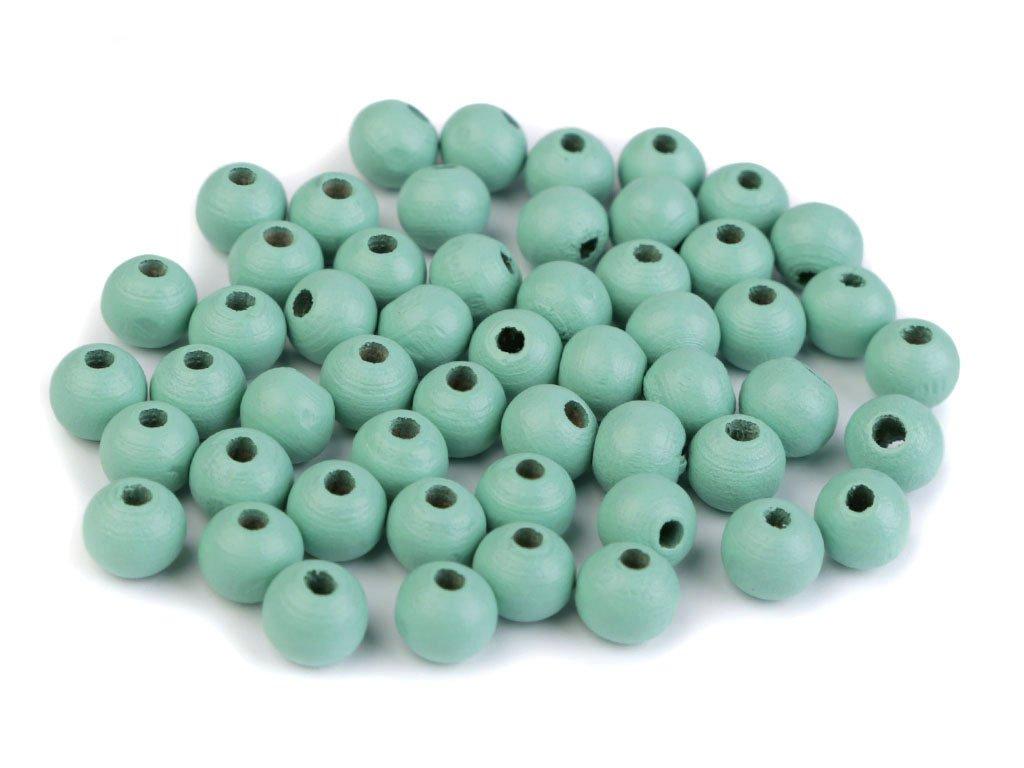 Korálky dřevěné kulička 8 mm (50 kusů) - mentol