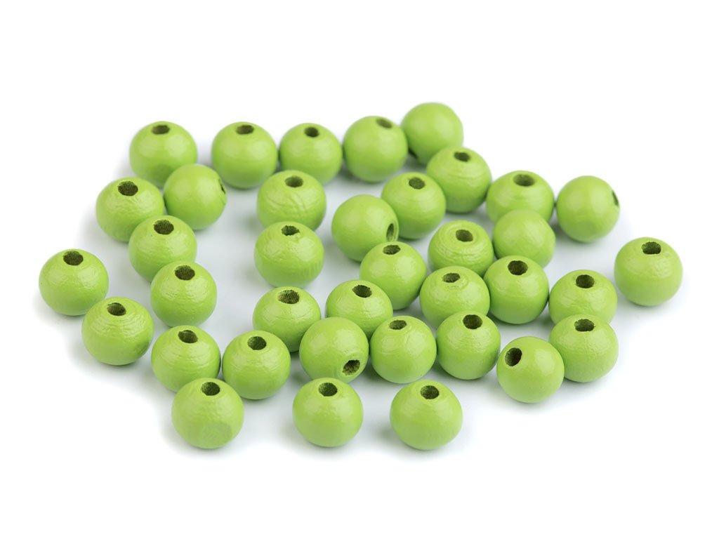 Korálky dřevěné kulička 8 mm (50 kusů) - zelené