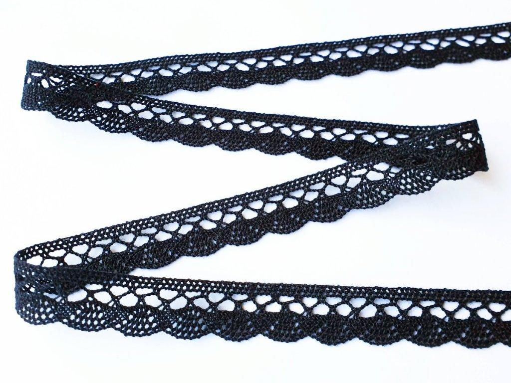 Bavlněná krajka paličkovaná 18 mm - černá