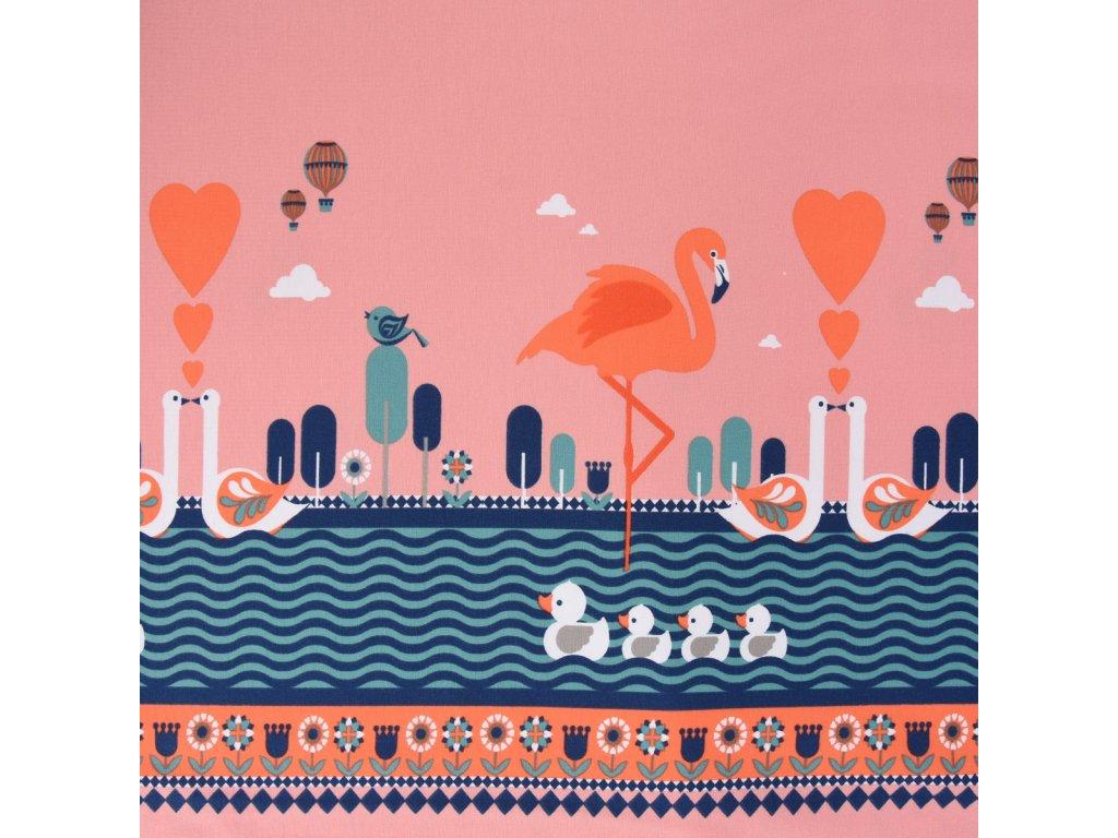 59386 Jersey Stenzo Digitaldruck Borduere beidseitig Flamingo Enten Blumen rosa blau weiss 1 50m Breite KW22 70129Capture0022