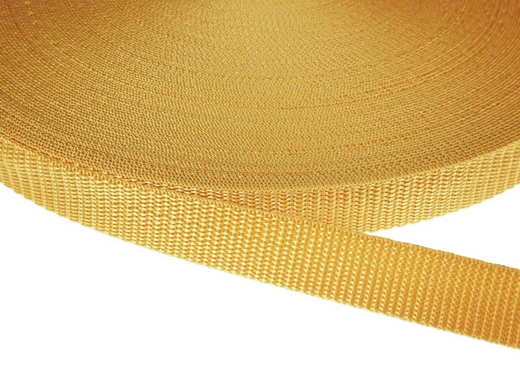 Popruh polypropylénový šíře 20 mm - hořčicová