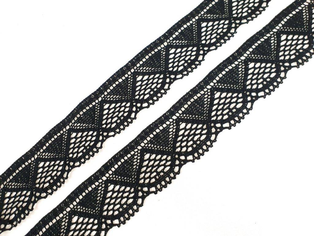 Bavlněná krajka paličkovaná 55 mm - černá