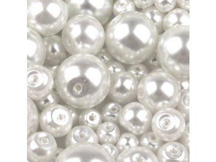 Voskované perly 4-12 mm kulička (30 g) - bílé