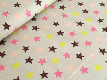 Bavlněné plátno - Barevné hvězdy na béžové