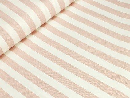 Bavlněné plátno - Starorůžové režné pruhy na krémově bílé