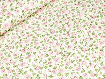 Bavlněné plátno - Růžičky na krémově bílé (zbytek)