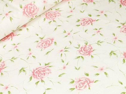 Bavlněné plátno - Růže na krémově bílé