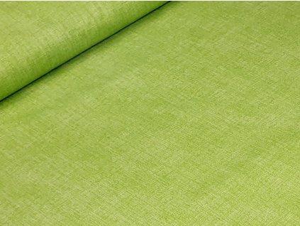 Bavlněné plátno - Lněný efekt zelená hrášková