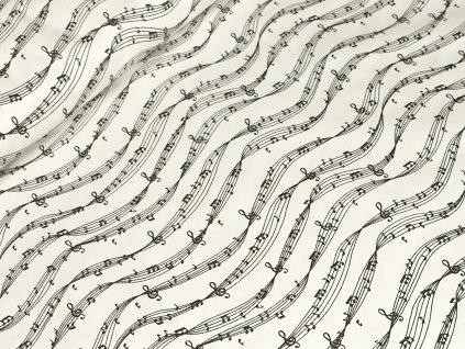 Bavlněné plátno - Noty na krémově bílé